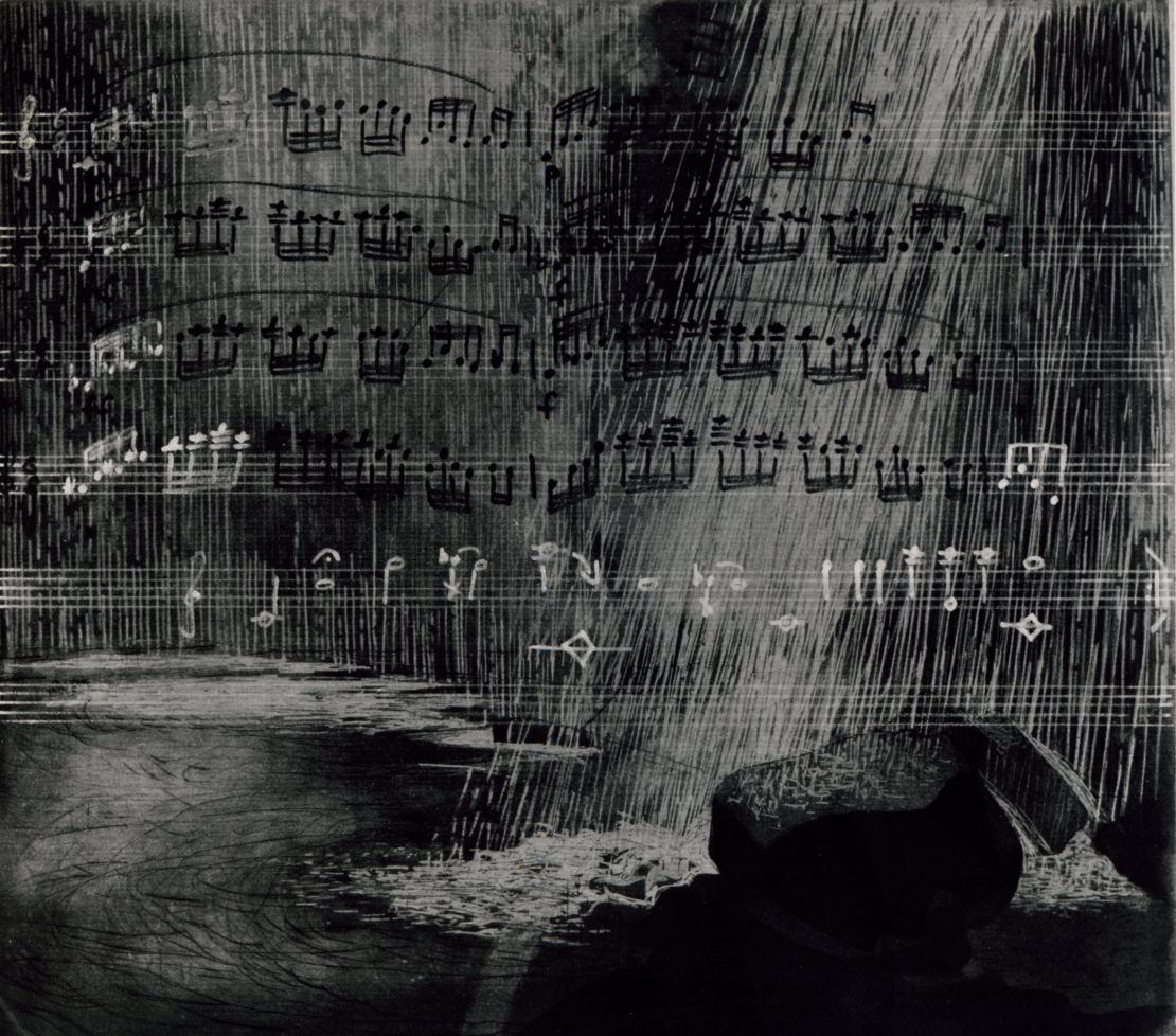 Radierung Edition Griffelkunst, 1987 Komposition: Monika van Lier Ausstellung: Tonhalle 1990